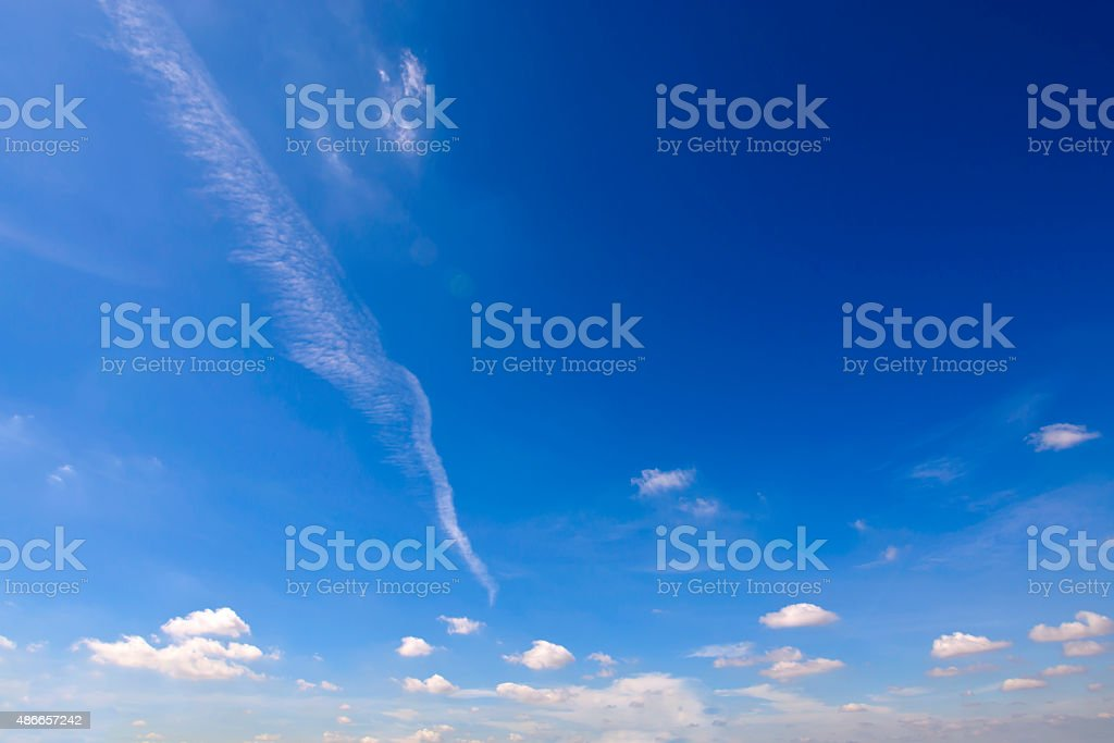 Clear blue sky with white cloud stock photo