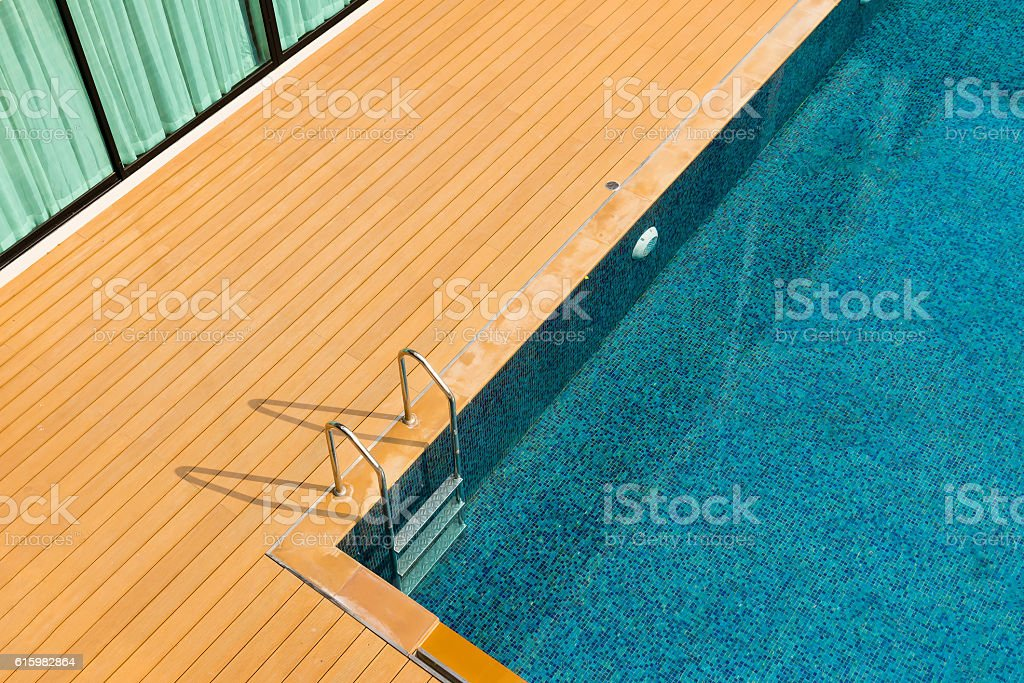 clear blue swimming pool stock photo