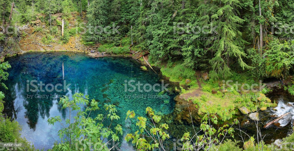 Clear Blue Tamolitch pool stock photo