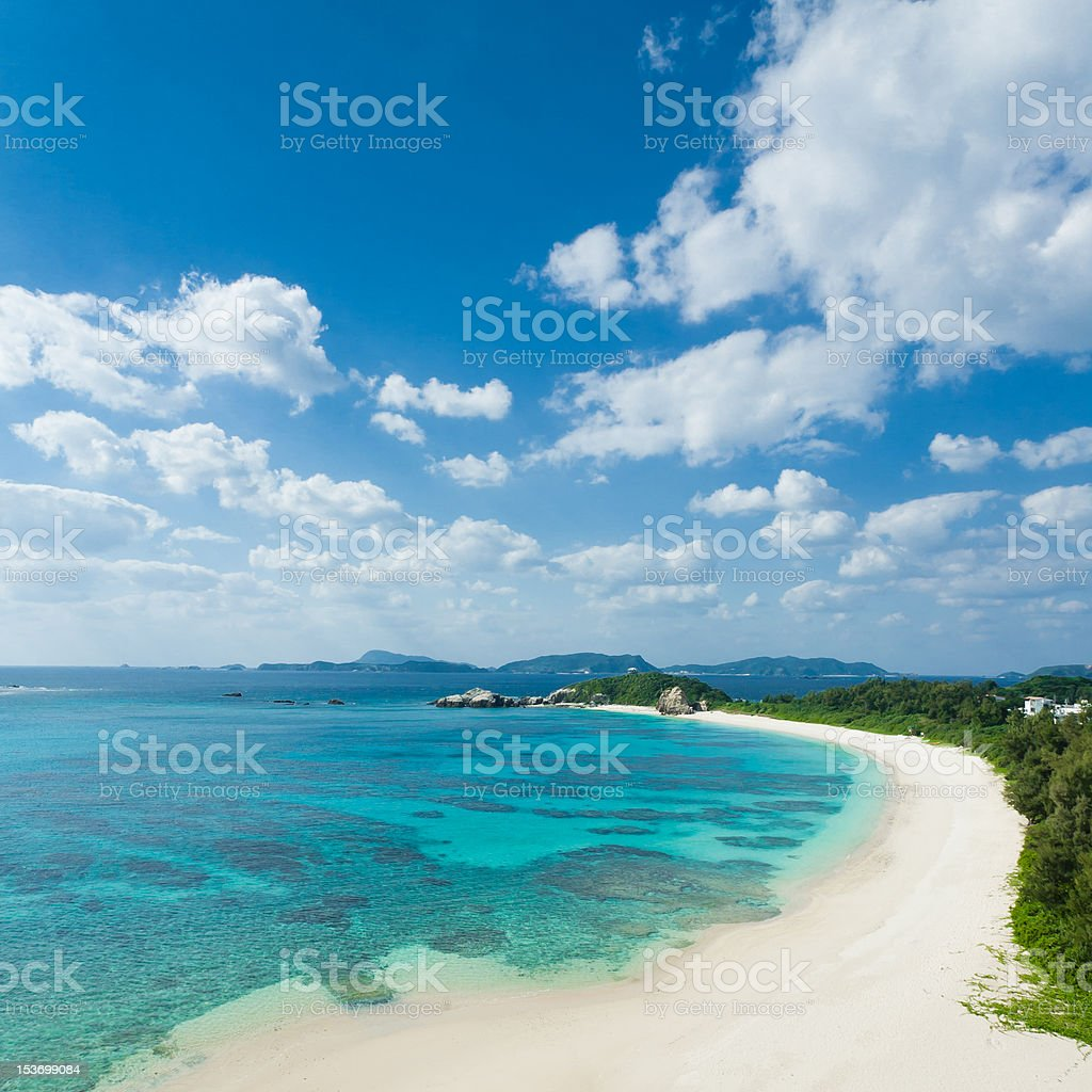 Clear blue water, deserted tropical beach on coral island, Japan stock photo
