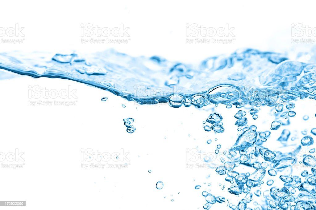 Clear Blue Water Splashing, Ripples and Waves royalty-free stock photo