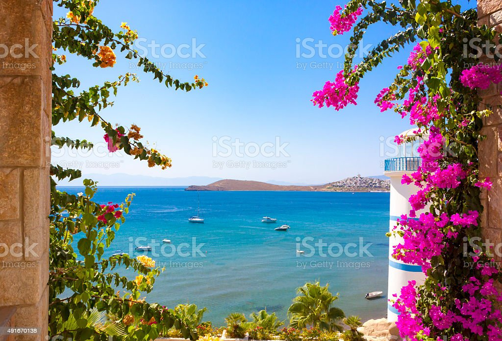 Clear blue waters and beautiful flowers in Ortakent stock photo