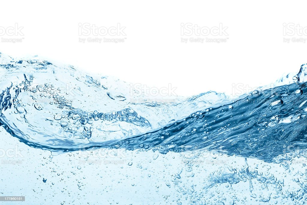 Clear blue wavy water on white background stock photo