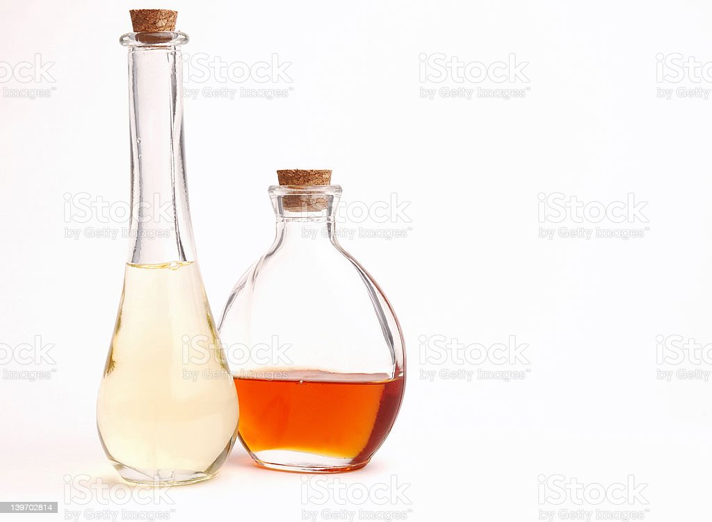 Clear Bottles of Oil royalty-free stock photo