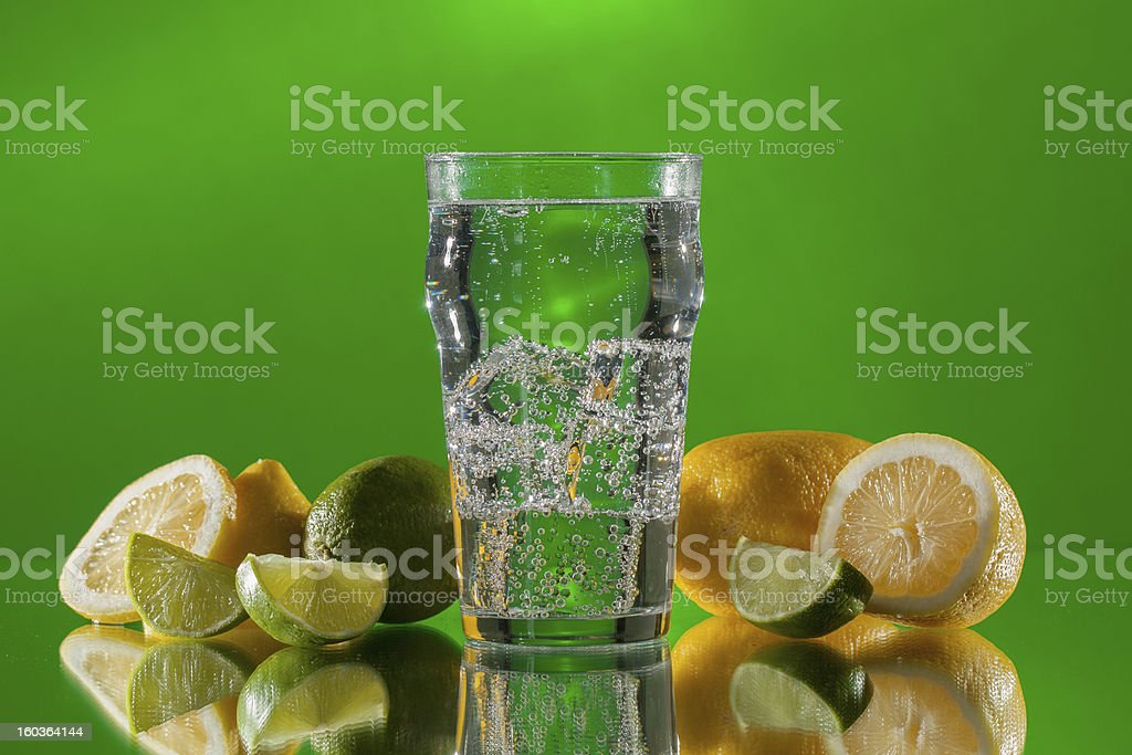 Clear carbonated soda with fruit, horizontal stock photo