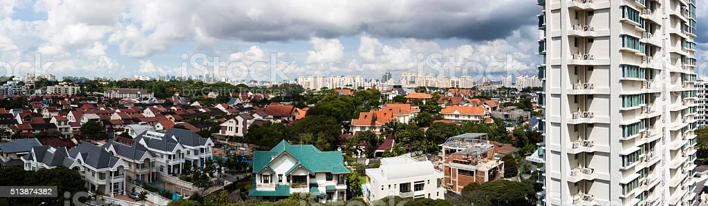 Clear, cloudy panorama day over Serangoon, Singapore stock photo