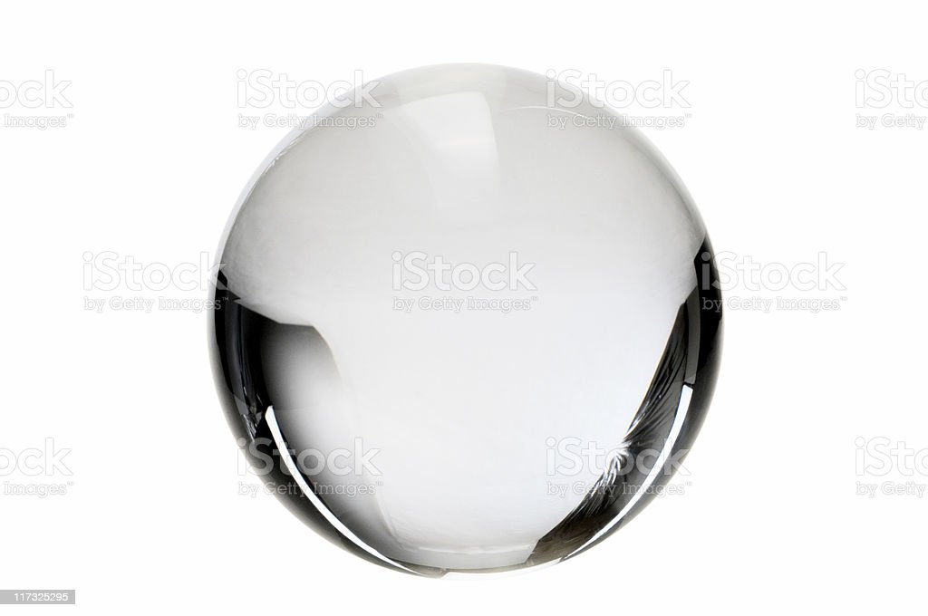 Clear crystal ball on a white background stock photo