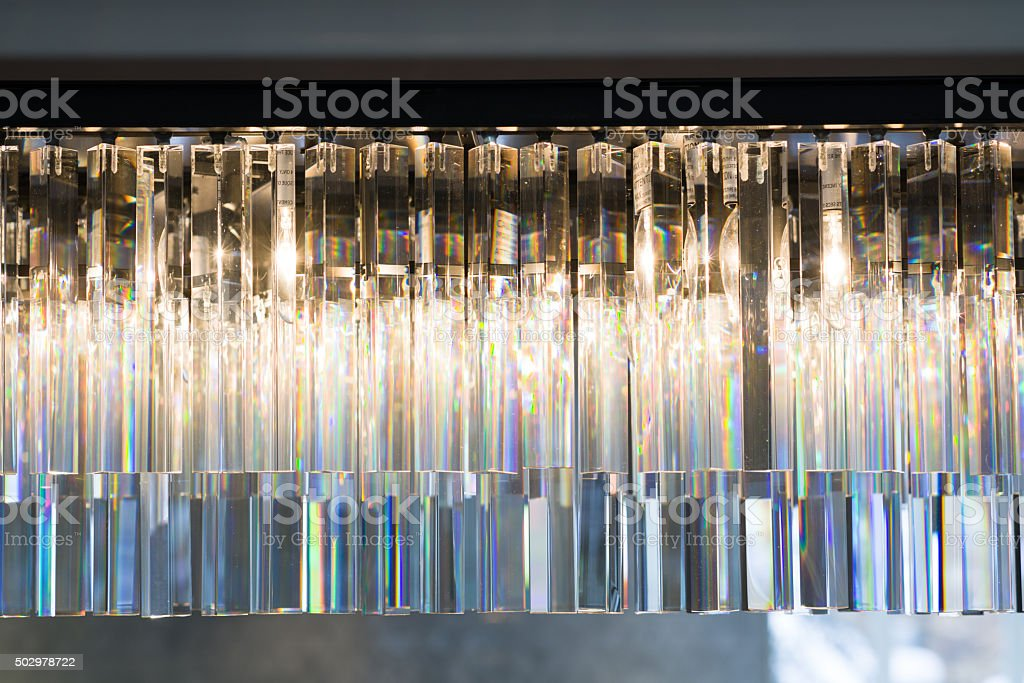 Clear Crystal Chandelier Detail stock photo