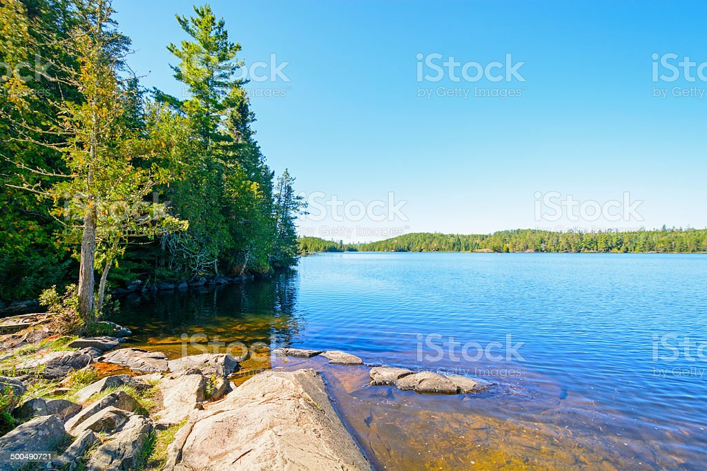 Clear Day and a Calm Lake in the North Woods stock photo