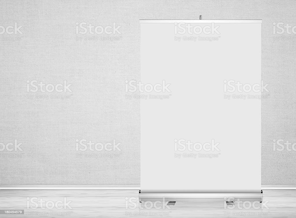 Clear empty studio background with blank roll up banner display. royalty-free stock photo