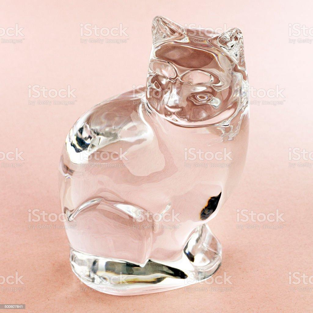 Clear Glass Cat Figurine stock photo