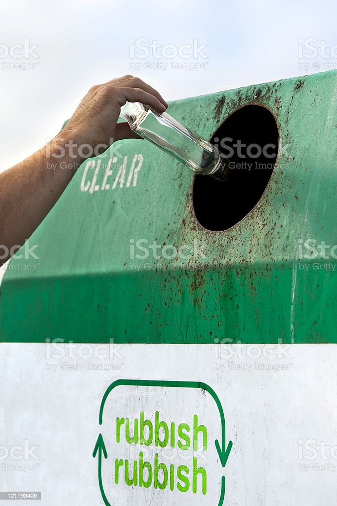 Clear glass recycling stock photo