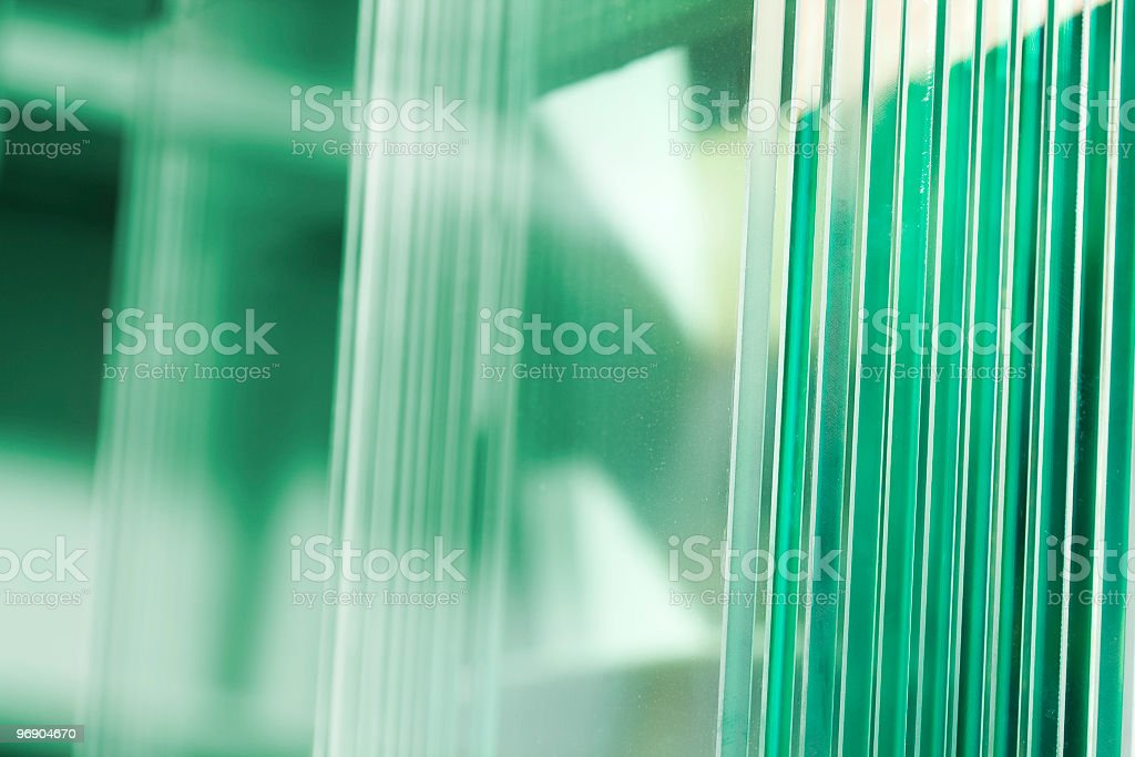 Clear glass with green scenery in background stock photo