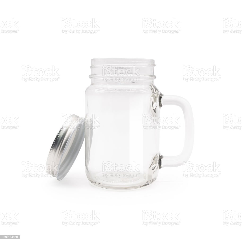 Clear jar and tube on isolated background with clipping path. stock photo