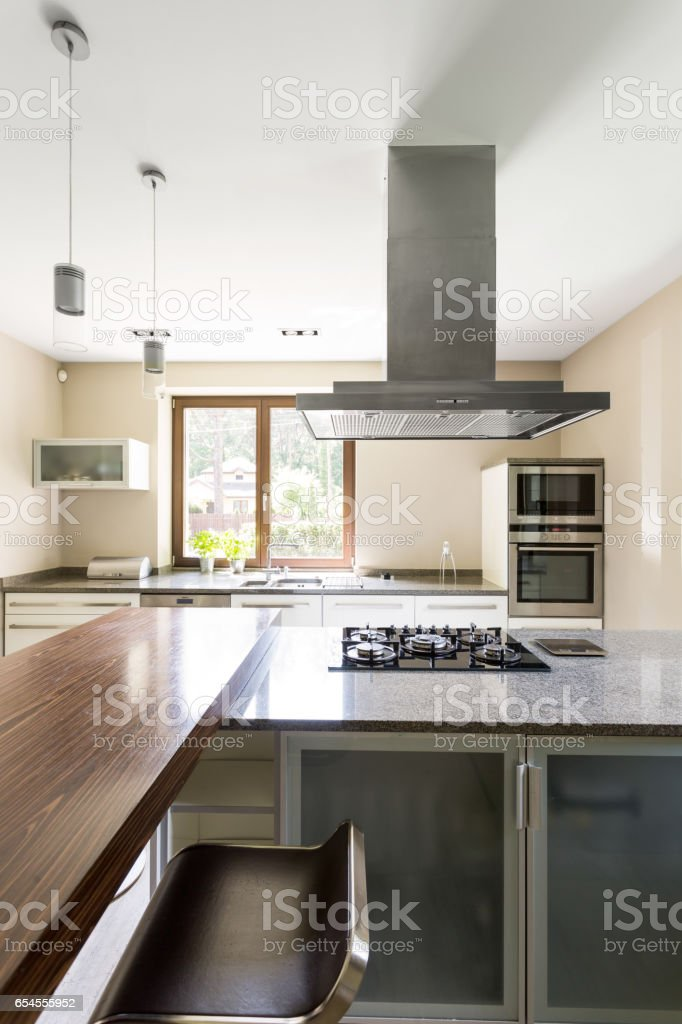 Clear kitchen space for modern perfectionists stock photo