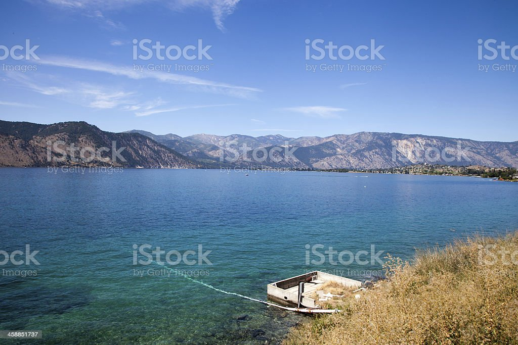 Clear Lake and Mountains stock photo