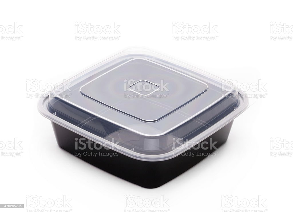 A clear lid completes a black plastic snack box stock photo