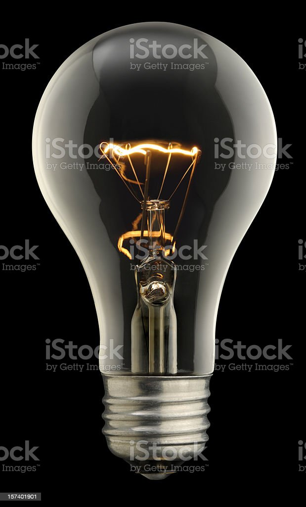 Clear Lightbulb On Black With Clipping Path stock photo