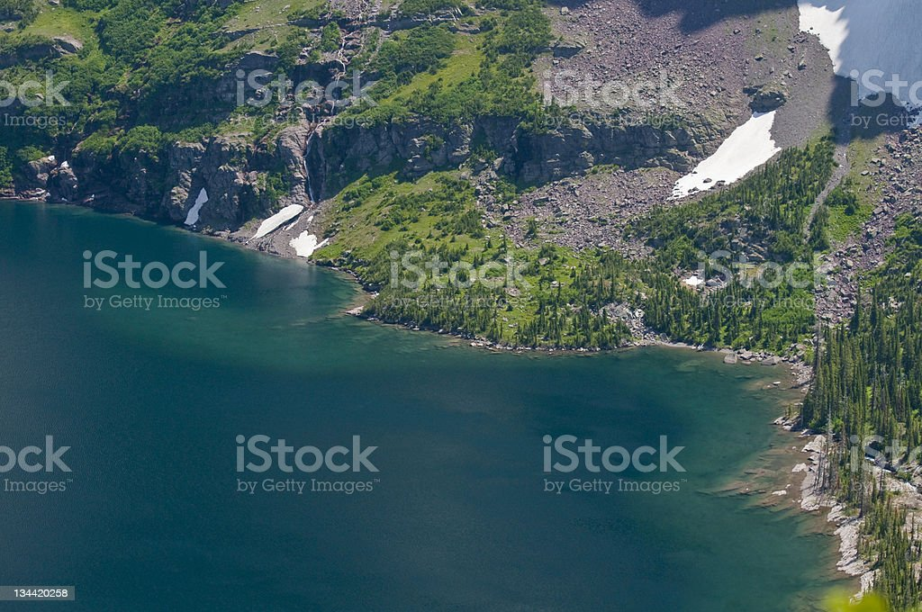 Clear Mountain Lake in Glacier National Park Montana royalty-free stock photo
