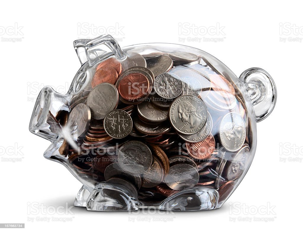Clear Piggy Bank Full of US Coins Money Savings Isolated royalty-free stock photo
