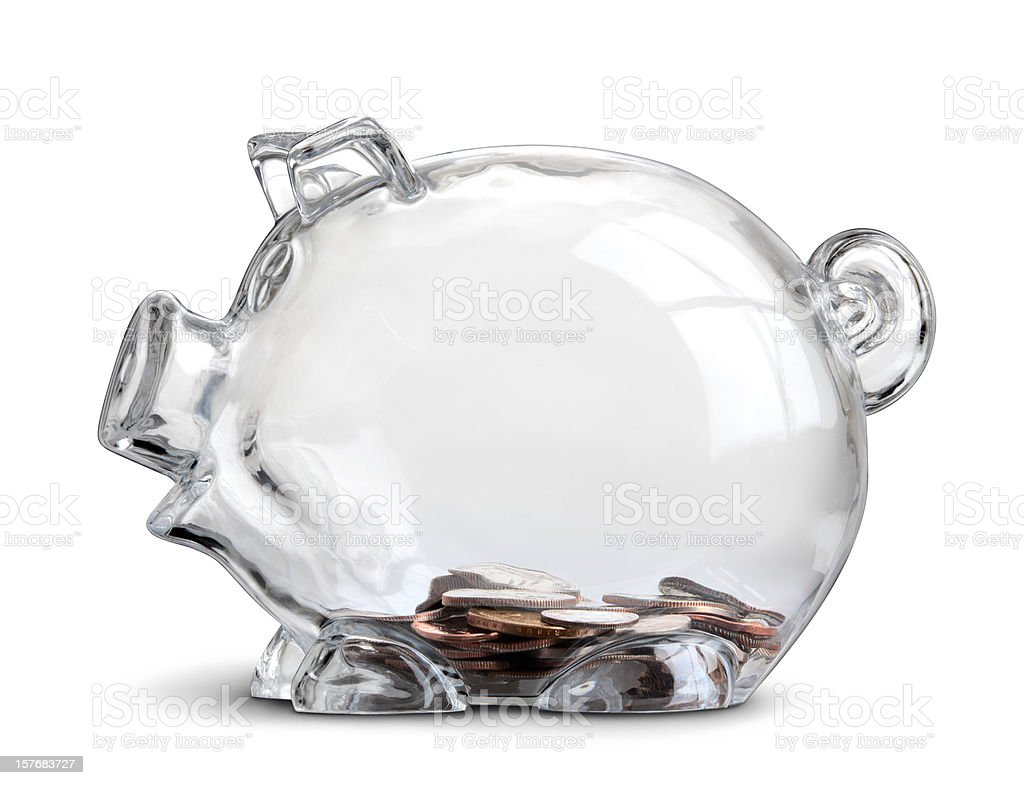 Clear Piggy Bank in Profile With Few Coins Isolated royalty-free stock photo