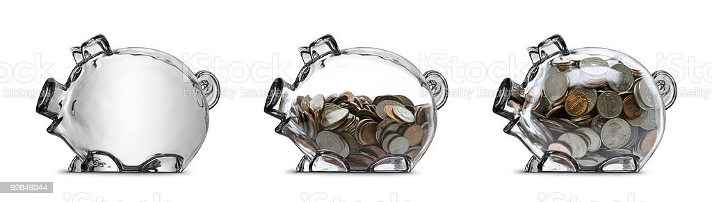 Clear Piggy Bank Savings Stages Empty Half Filled Full Isolated stock photo