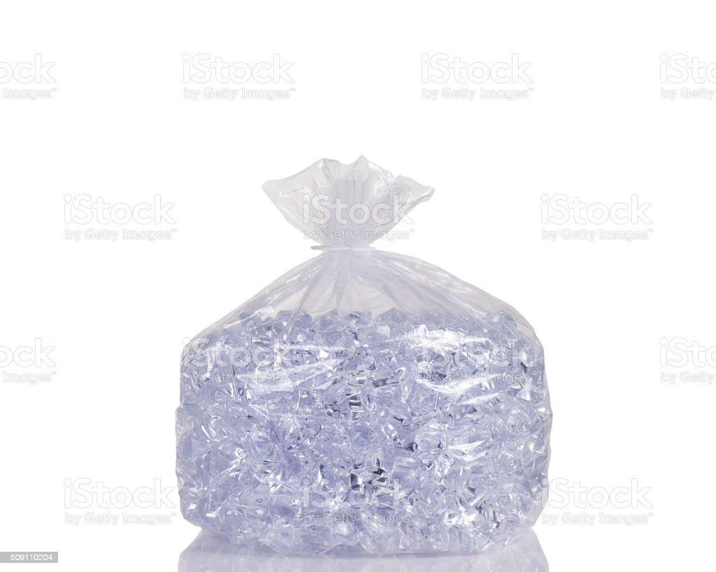 Clear plastic bag filled with ice cubes stock photo