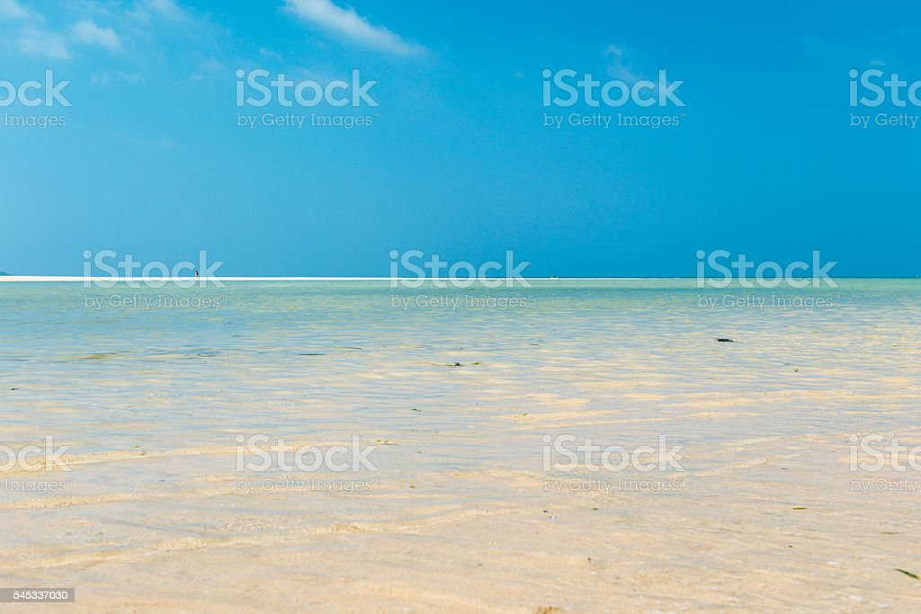 Clear shallow blue sea, Low tide Hayle Beach, Cornwall stock photo