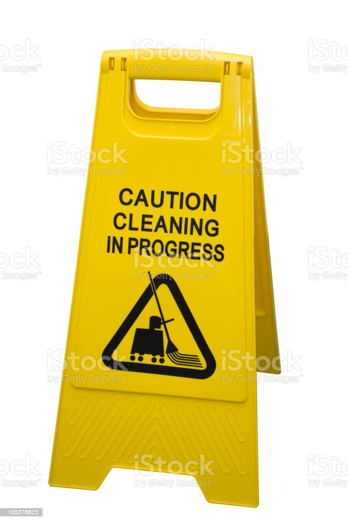Clear shot of Cleaning in Progress Sign stock photo