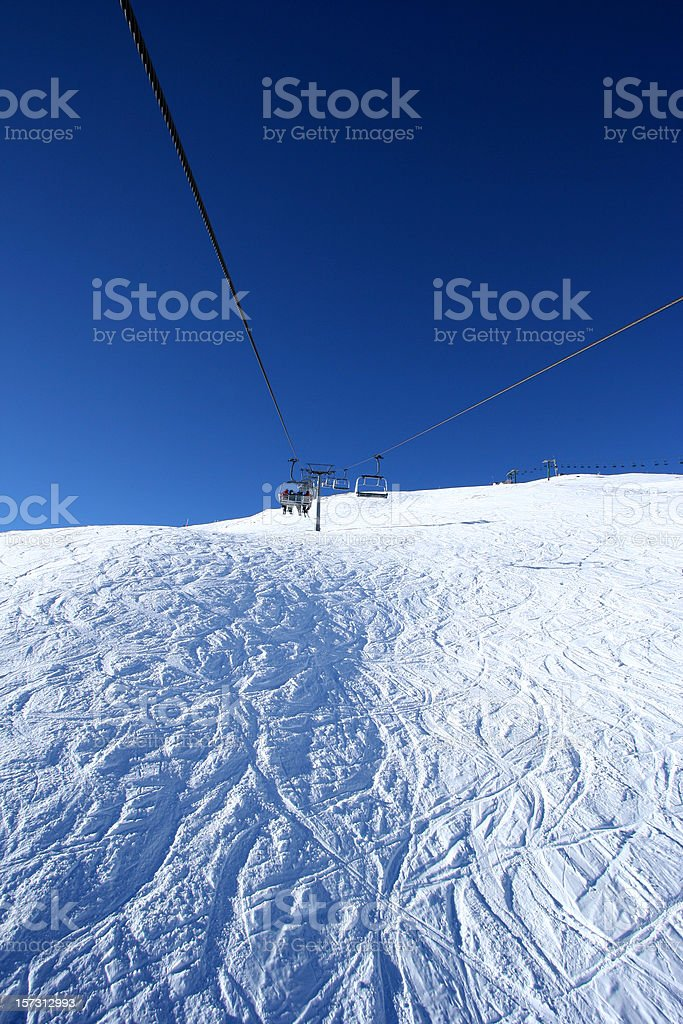 Clear sky and chair lift royalty-free stock photo