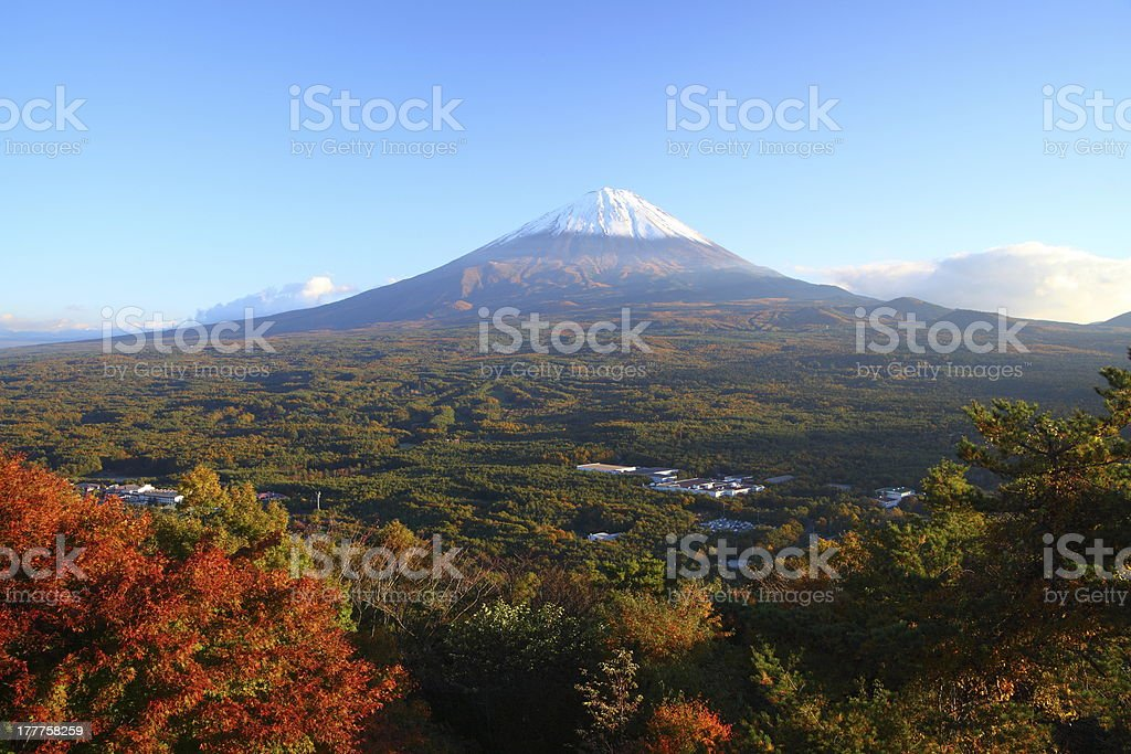 Clear sky at mount Fuji in autumn stock photo