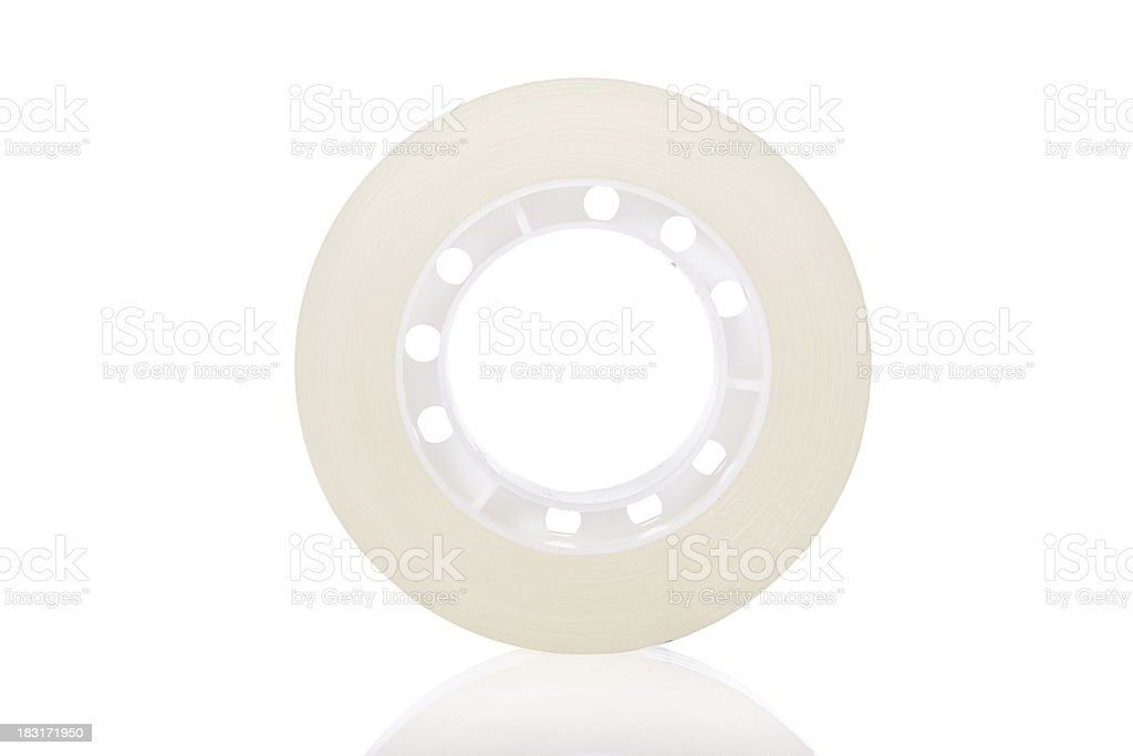 Clear tape roll isolated on a white background stock photo