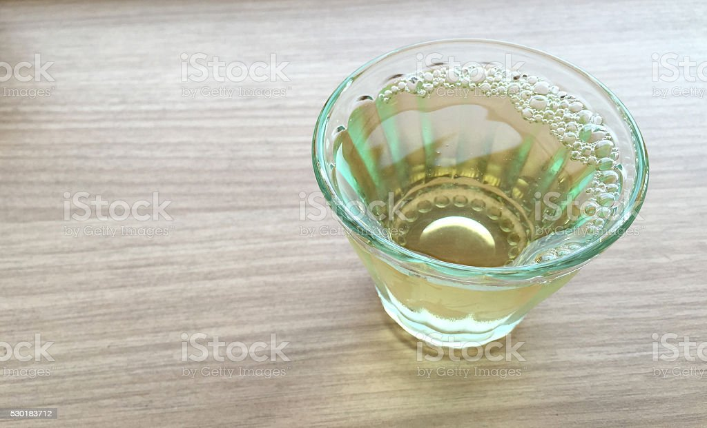 Clear tea with water bubble stock photo