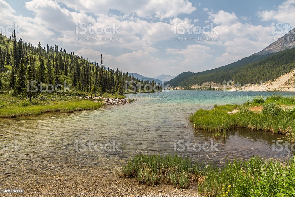Clear, turqouise waters of Summit Lake, Northern Rocky Mountains, BC stock photo