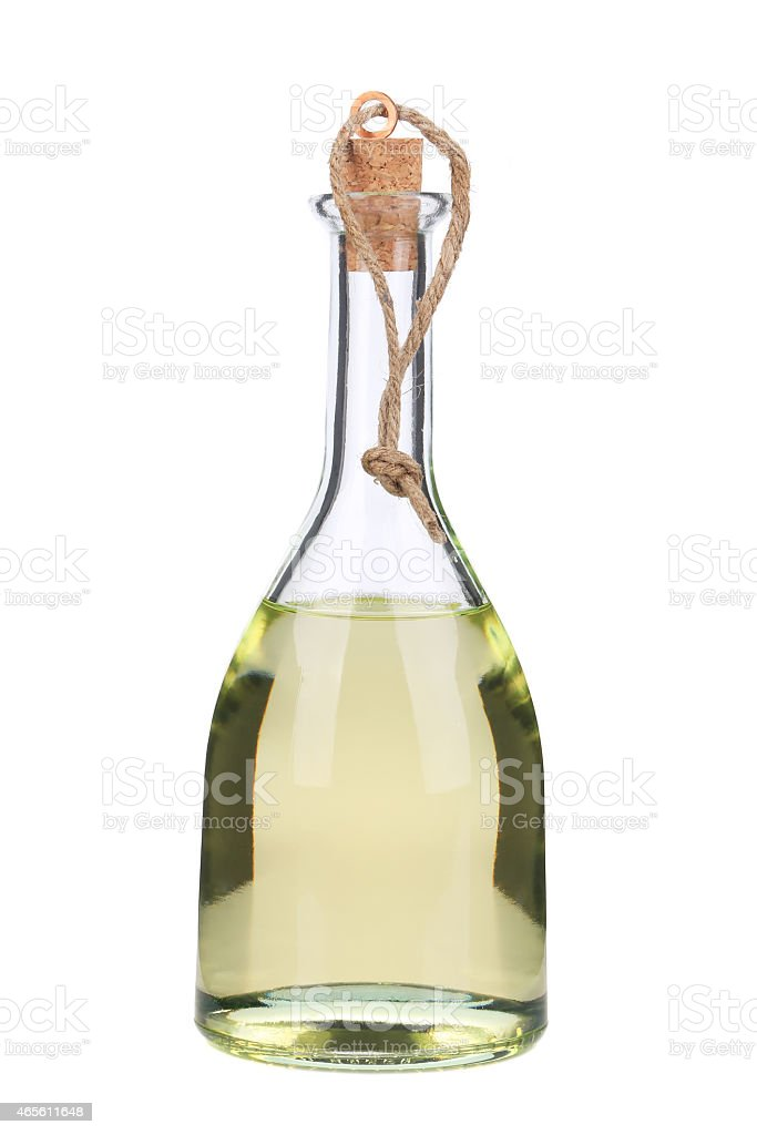 Clear vinegar in a glass carafe stock photo