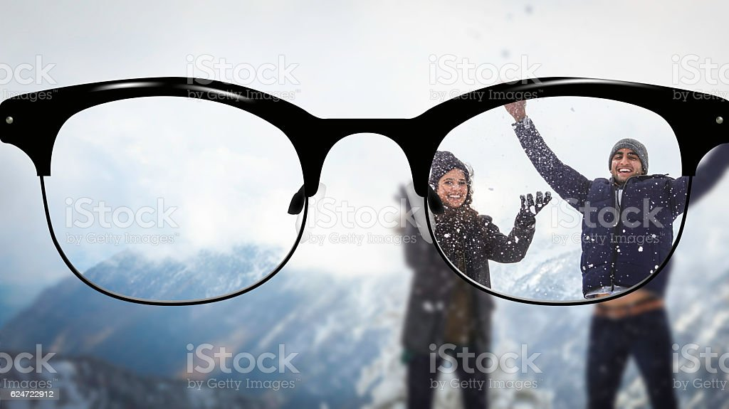 Clear vision couple playing with snow stock photo