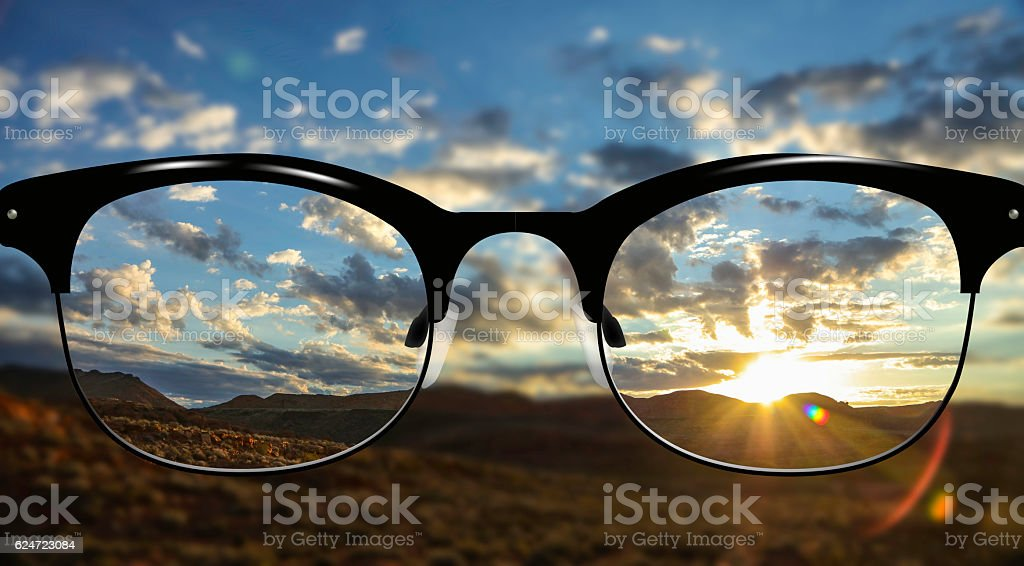 Clear Vision desert Sunrise stock photo