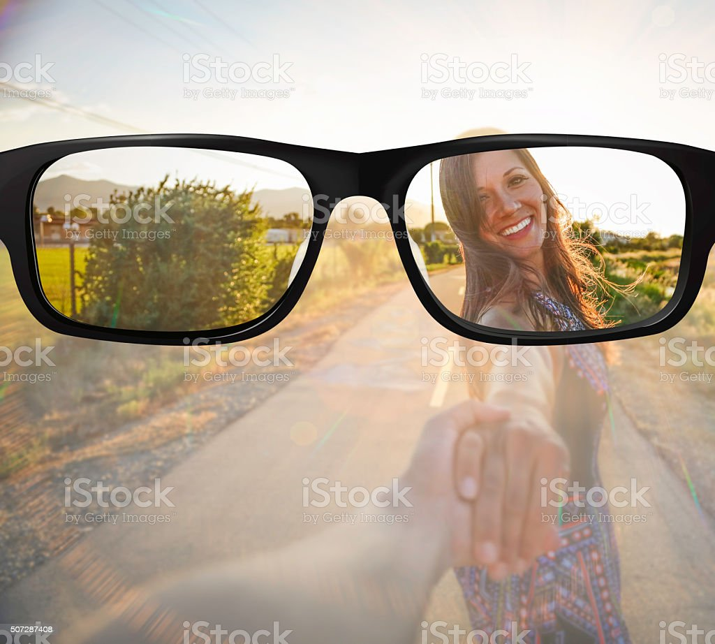 Clear vision in glasses stock photo