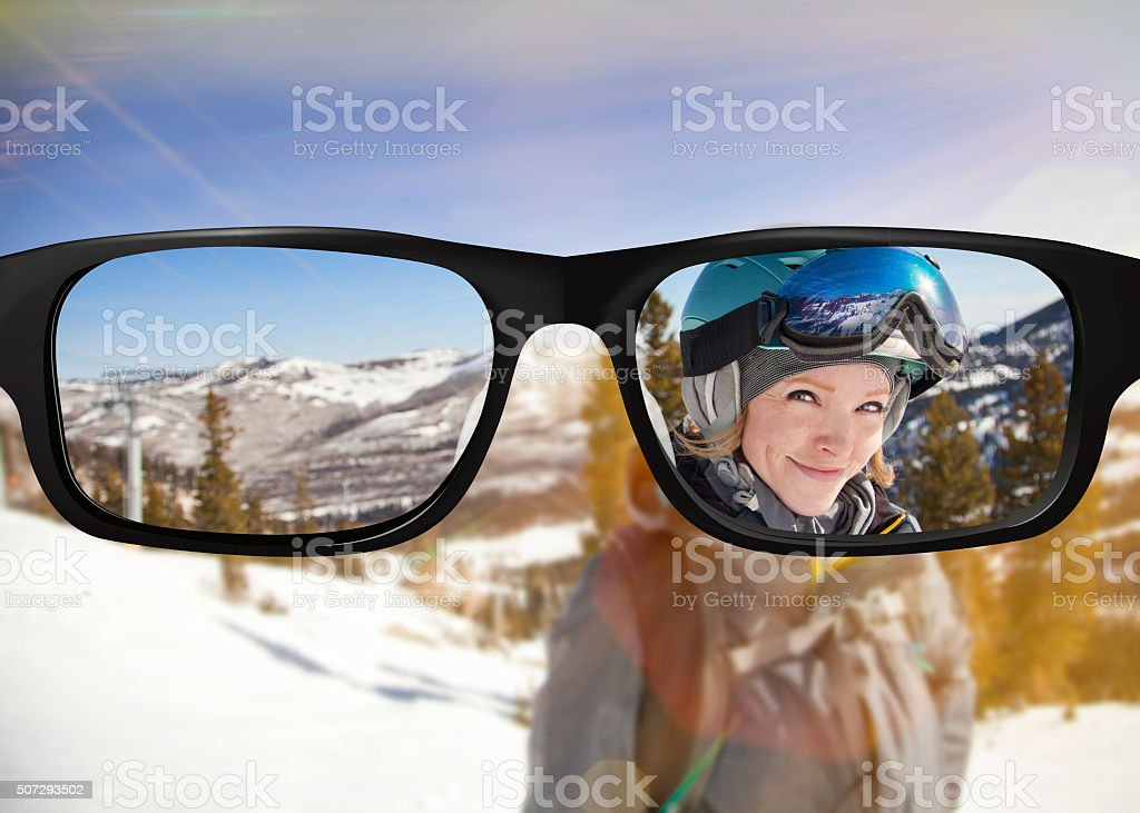 Clear vision Snowboarder portrait stock photo