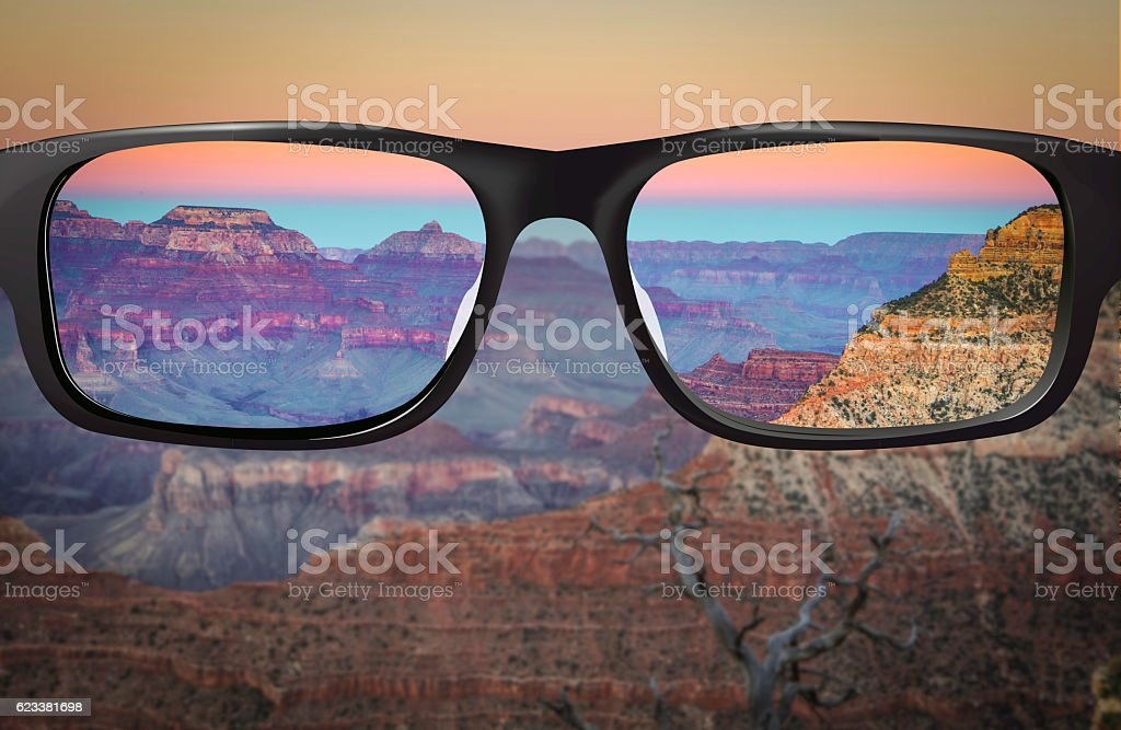 Clear vision South Rim Grand Canyon stock photo