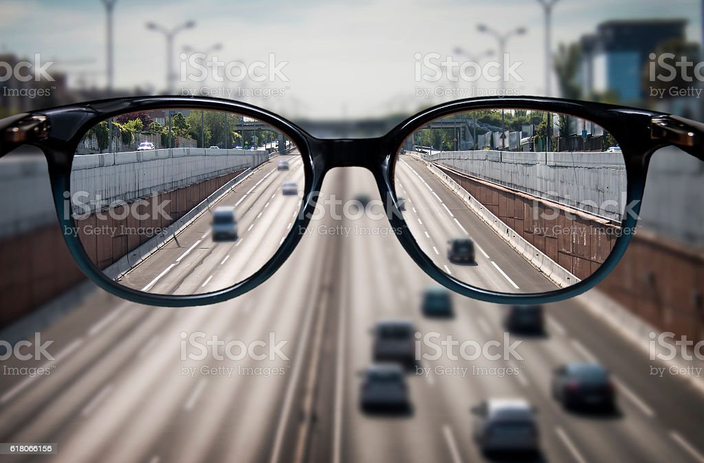 Clear vision through glasses stock photo