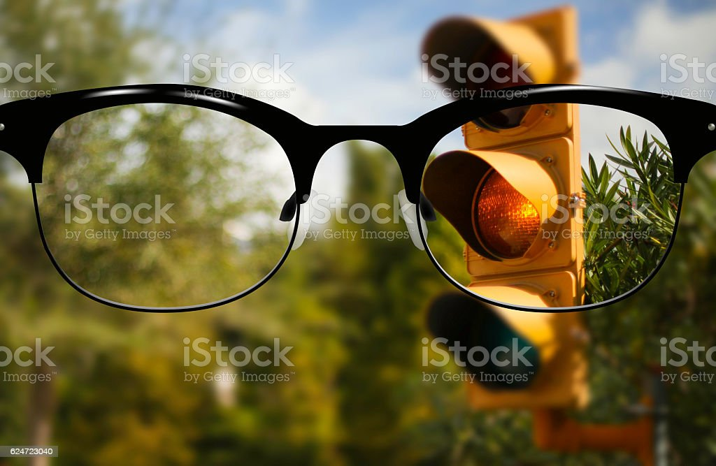 Clear Vision yellow traffic light stock photo