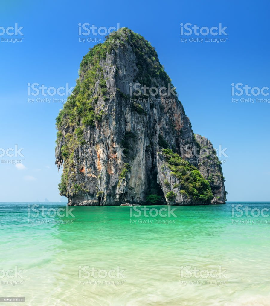 Clear water and blue sky. Phra Nang beach, Thailand stock photo