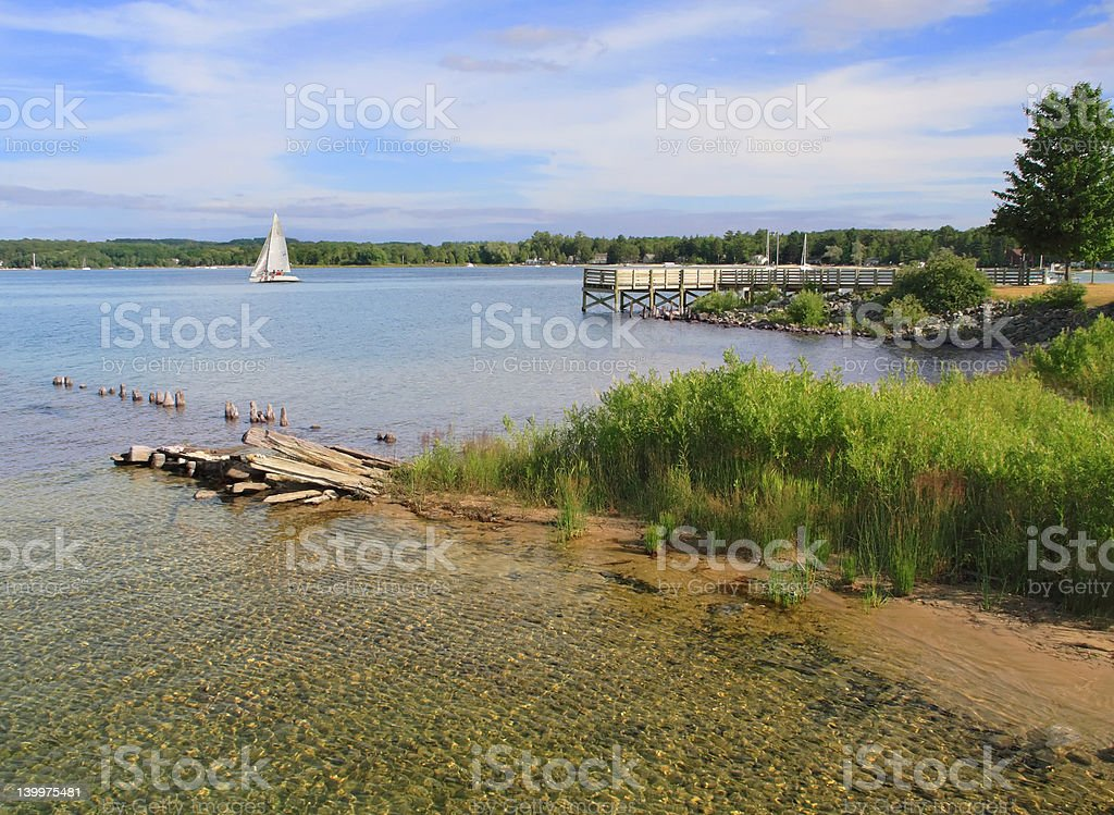 Clear water and blue sky stock photo