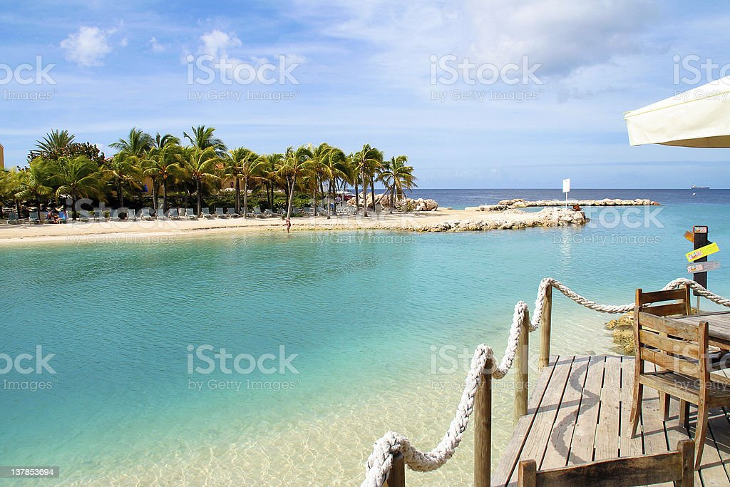 Clear water and palm trees on Mambo Beach, Curacao stock photo