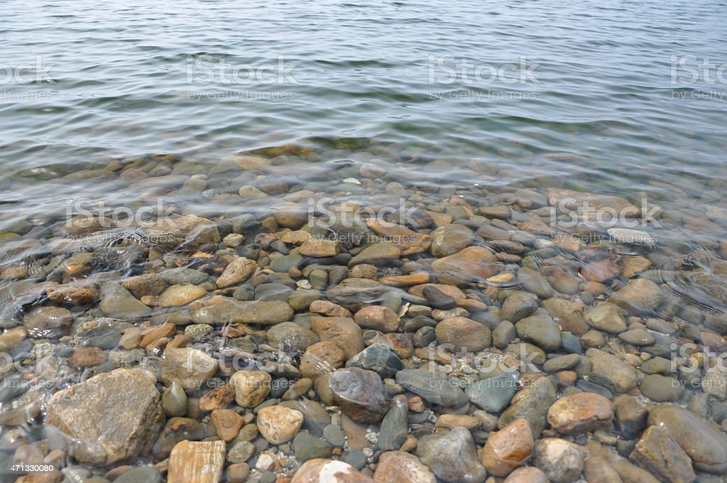 Clear water and rocks. stock photo