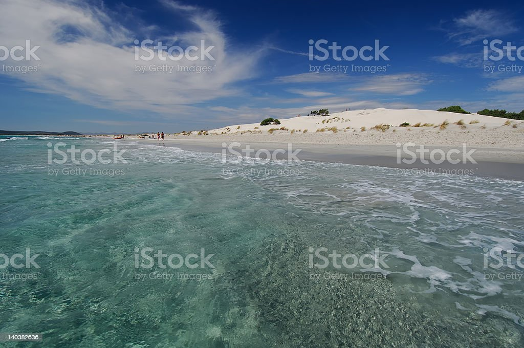 Clear water and white sand dunes in Sardinia royalty-free stock photo