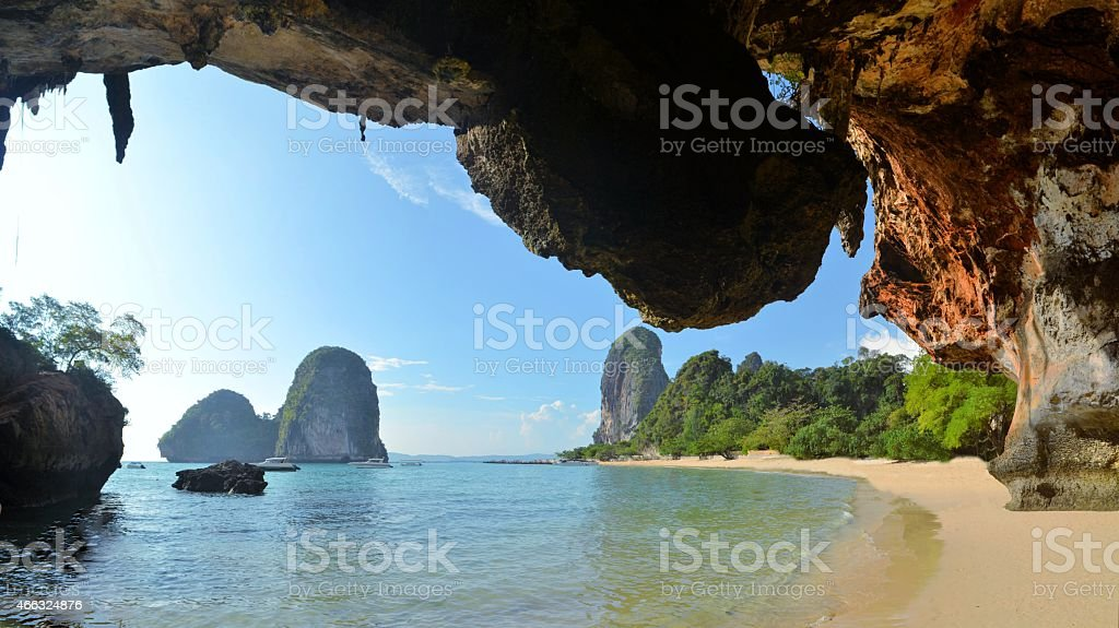 Clear water, blue sky at cave beach, Krabi Thailand stock photo