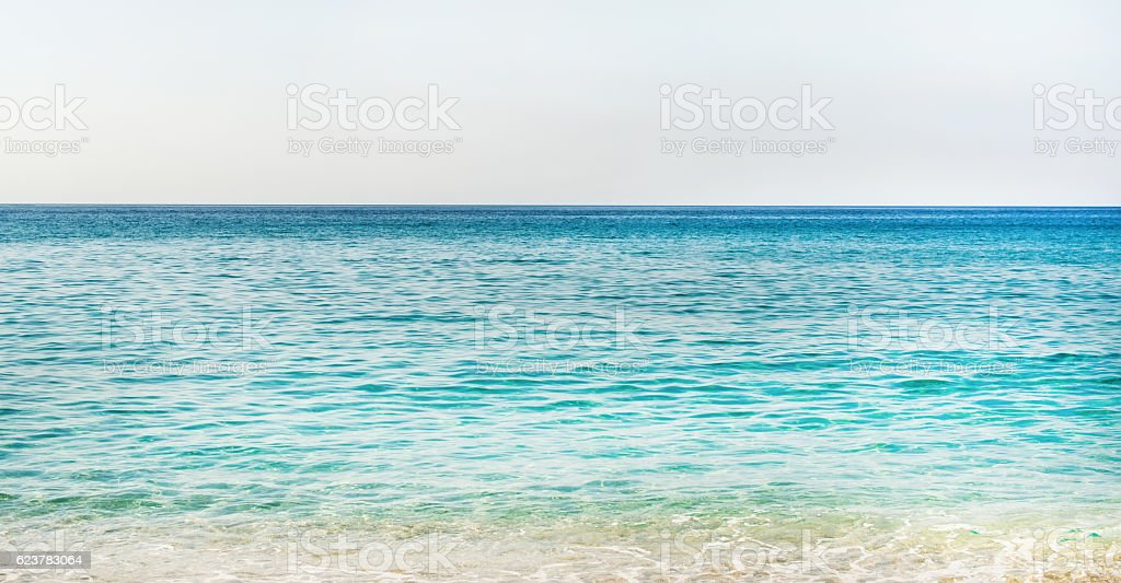 Clear water of Mediterranean sea at Cleopatra beach, Alanya, Turkey stock photo
