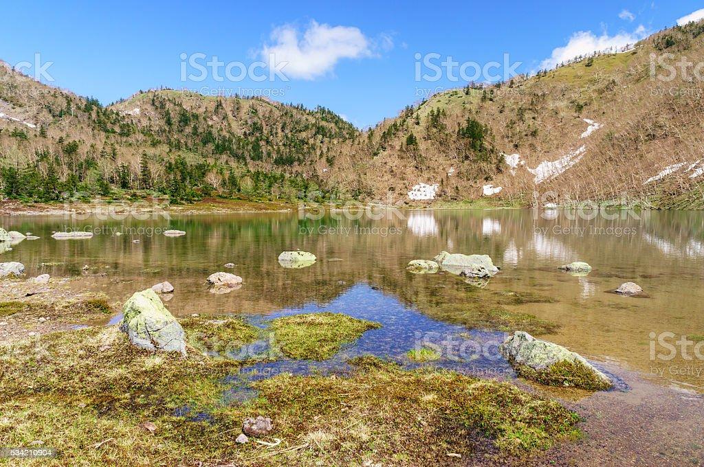 Clear Water Pond in Mount Nikko-Shirane stock photo